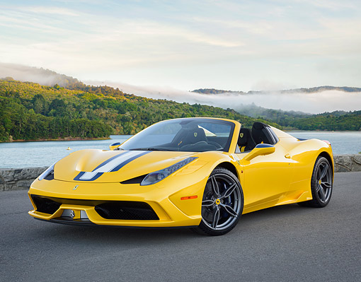 FRR 18 RK0001 01 © Kimball Stock 2015 Ferrari 458 Speciale Aperta Yellow 3/4 Front View By Lake