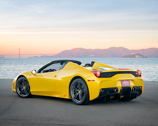 FRR 18 RK0002 01 © Kimball Stock 2015 Ferrari 458 Speciale Aperta Yellow 3/4 Rear View By Bay