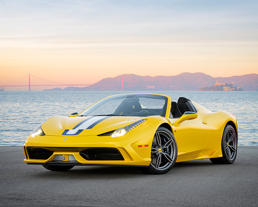 FRR 18 RK0003 01 © Kimball Stock 2015 Ferrari 458 Speciale Aperta Yellow 3/4 Front View By Bay