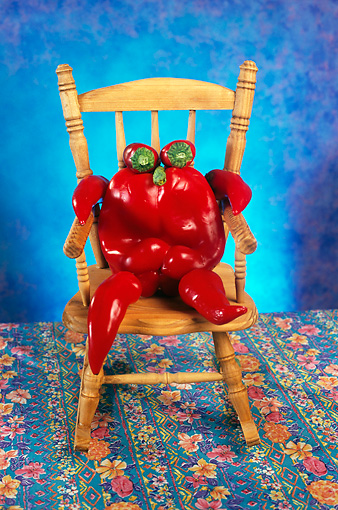 GCD 01 RC0001 01 © Kimball Stock Bell Pepper Person Sitting In Rocking Chair