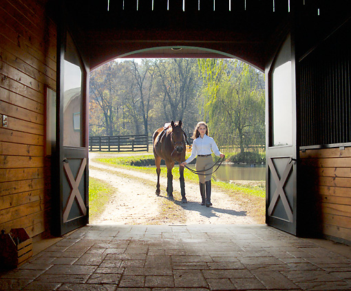 HOR 01 MB0246 01 © Kimball Stock Girl Leading Horse Into Barn