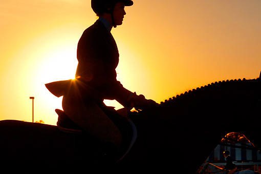 HOR 01 MB0389 01 © Kimball Stock Close-Up Silhouette Of Girl And Horse At Show Jumping Event