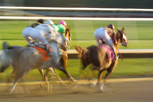 HOR 01 MB0390 01 © Kimball Stock Stylized Motion Action Shot Of Arabian Horse Racing
