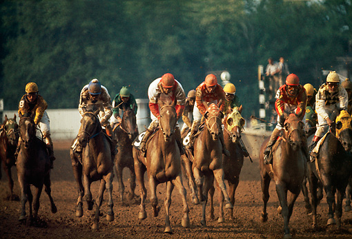 HOR 01 MR0007 01 © Kimball Stock Horses Racing Around Track