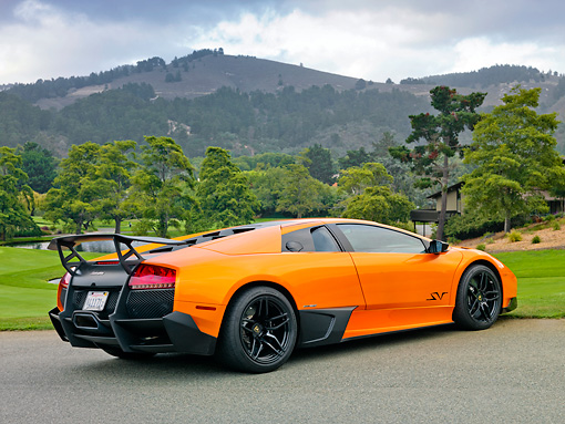 2010 Lamborghini Murcielago Lp670 4 Sv Orange 3 4 Rear View On