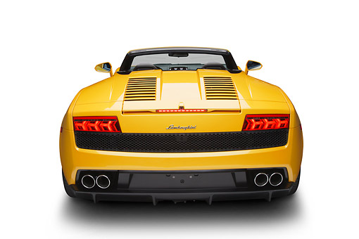 LAM 01 BK0036 01 © Kimball Stock 2012 Lamborghini Gallardo Yellow Rear View In Studio