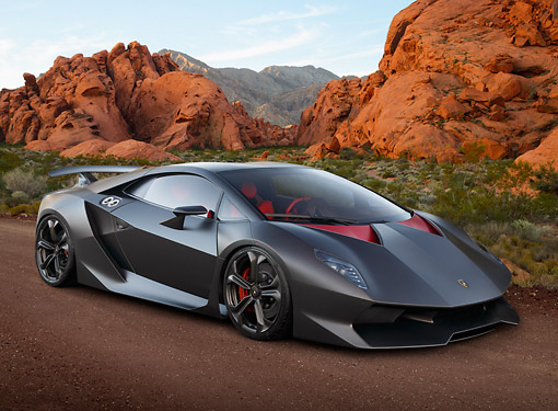 LAM 01 BK0043 01 © Kimball Stock 2013 Lamborghini Sesto Elemento Black 3/4 Front View On Dirt In Desert