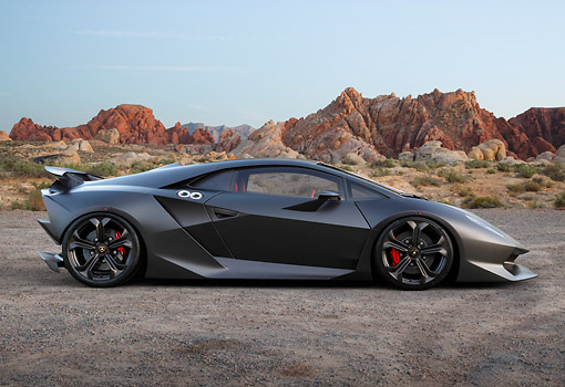 LAM 01 BK0045 01 © Kimball Stock 2013 Lamborghini Sesto Elemento Black Profile View On Dirt In Desert