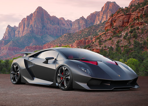 2013 Lamborghini Sesto Elemento Black 3 4 Front View On Dirt In