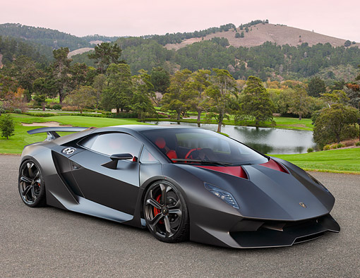 LAM 01 BK0053 01 © Kimball Stock 2013 Lamborghini Sesto Elemento Black 3/4 Front View On Pavement By Golf Course