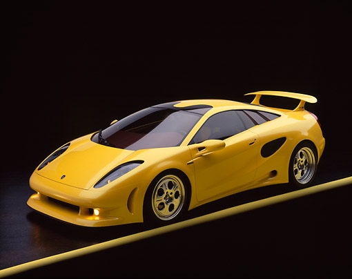 LAM 01 RK0026 04 © Kimball Stock Lamborghini Cala Italdesign Yellow 3/4 Front View On Yellow Line Studio