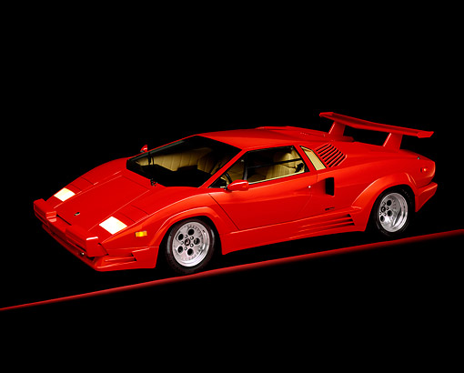 LAM 01 RK0043 01 © Kimball Stock 1989 Lamborghini Countach Red 3/4 Side View On Red Line Studio