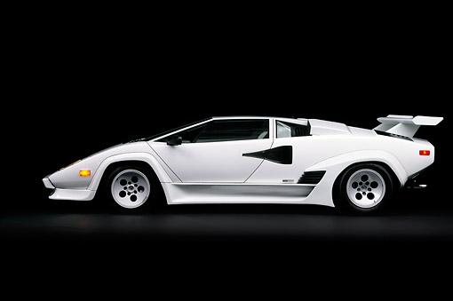 1985 Lamborghini Countach White Profile View Studio Kimballstock