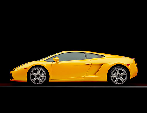 LAM 01 RK0535 04 © Kimball Stock 2004 Lamborghini Gallardo Yellow Profile On Gray Line Studio