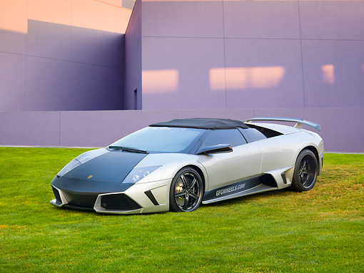 LAM 01 RK0748 01 © Kimball Stock 2008 Lamborghini Murcielago LP640 Roadster Silver And Black 3/4 Front View On Grass