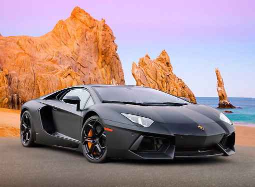 2012 Lamborghini Aventador Lp700 4 Black 3 4 Front View On Pavement