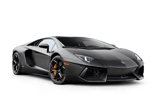 LAM 01 RK0775 01 © Kimball Stock 2012 Lamborghini Aventador Black 3/4 Front View On White Seamless