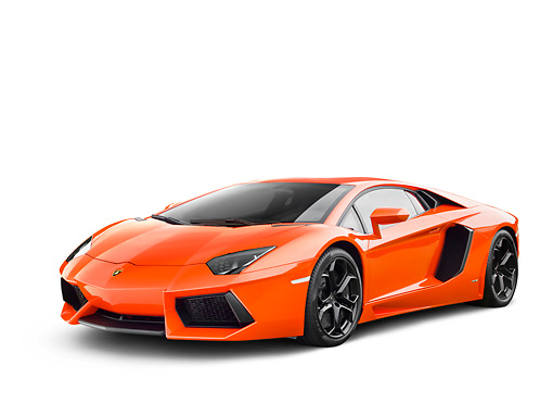 LAM 01 RK0777 01 © Kimball Stock 2012 Lamborghini Aventador Orange 3/4 Front View On White Seamless