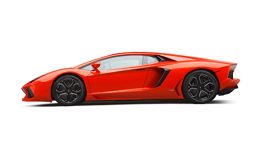 LAM 01 RK0797 01 © Kimball Stock 2012 Lamborghini Aventador Tangerine Profile View On White Seamless