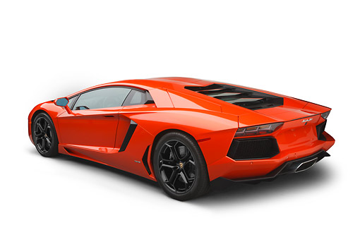 LAM 01 RK0798 01 © Kimball Stock 2012 Lamborghini Aventador Tangerine 3/4 Rear View On White Seamless