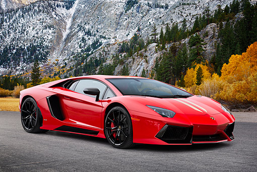 LAM 01 RK0800 01 © Kimball Stock 2014 Lamborghini Aventador LP 700-4 Roadster Ad Personam Red 3/4 Front View On Pavement