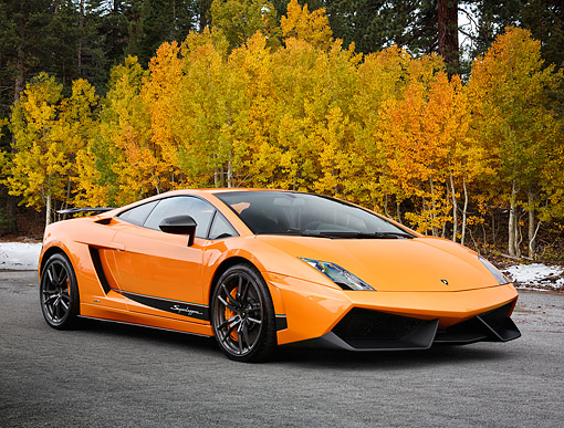 LAM 01 RK0801 01 © Kimball Stock 2014 Lamborghini Gallardo LP 570-4 Superleggera Orange 3/4 Front View On Pavement