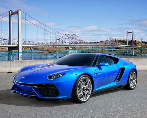 LAM 01 RK0807 01 © Kimball Stock Lamborghini Asterion LPI 910-4 Hybrid Concept Car Blue 3/4 Front View By Bridge