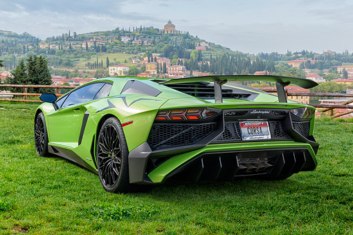 LAM 01 RK0811 01 © Kimball Stock 2016 Lamborghini LP 750-4 SV Green 3/4 Rear View By Moutains And Buildings