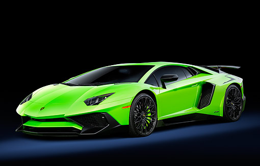 LAM 01 RK0920 01 © Kimball Stock 2016 Lamborghini LP 750-4 SV Green 3/4 Front View In Studio