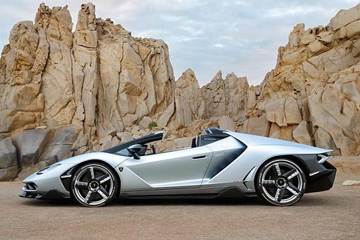 2017 Lamborghini Centenario Roadster Silver Side View In Desert