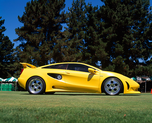 LAM 01 RK0011 05 © Kimball Stock Yellow Lamborghini Cala Italdesign Profile On Grass By Trees Blue Sky