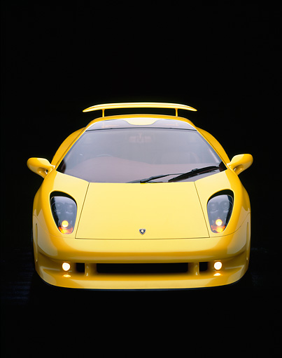LAM 01 RK0017 06 © Kimball Stock Lamborghini Cala Italdesign Yellow Head On Shot Studio