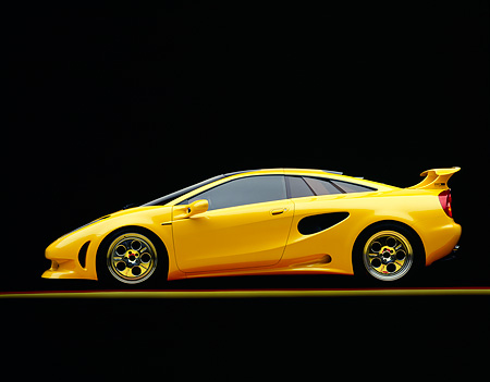LAM 01 RK0023 01 © Kimball Stock Lamborghini Cala Italdesign Yellow Profile On Yellow Line Studio