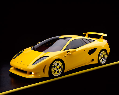 LAM 01 RK0026 03 © Kimball Stock Lamborghini Cala Italdesign Yellow 3/4 Front View On Yellow Line Studio