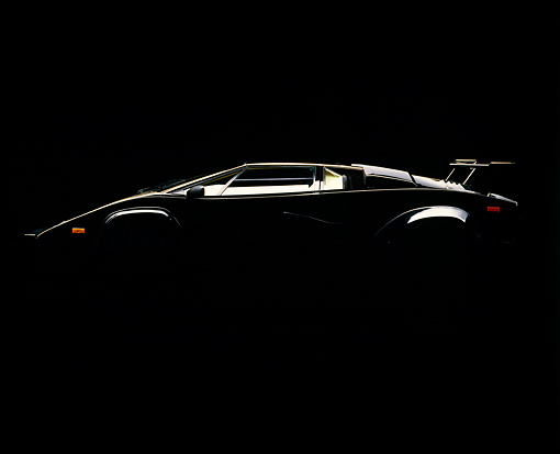 LAM 01 RK0069 01 © Kimball Stock Lamborghini Countach Black Profile View Silhouette Shot Studio