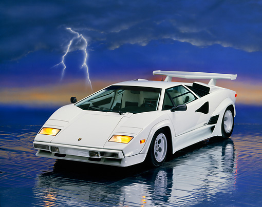 1985 Lamborghini Countach White 3 4 Front View Studio Kimballstock