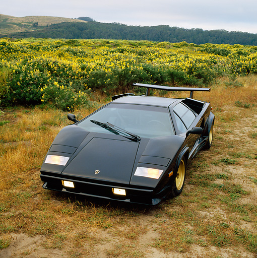 LAM 01 RK0216 01 © Kimball Stock Lamborghini Countach Black Overhead Front 3/4 View In Field