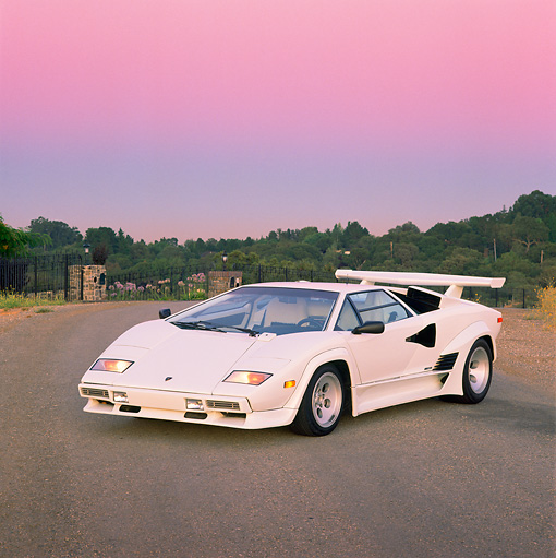 LAM 01 RK0266 02 © Kimball Stock Lamborghini Countach White 3/4 Front View On Pavement