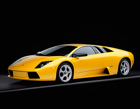 LAM 01 RK0453 02 © Kimball Stock 2002 Lamborghini Murcielago Yellow 3/4 Side View On Gray Line Studio