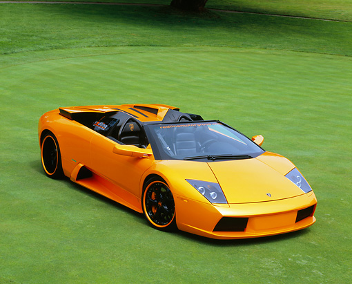 LAM 01 RK0540 01 © Kimball Stock 2005 Lamborghini Murcielago Roadster Orange 3/4 Front View On Grass