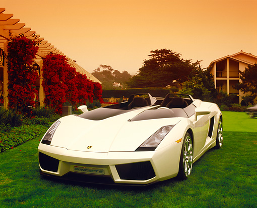 LAM 01 RK0552 01 © Kimball Stock Lamborghini Concept S Roadster White Front 3/4 View On Grass By Building