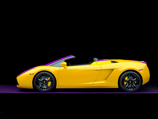 LAM 01 RK0553 01 © Kimball Stock 2007 Lamborghini Gallardo Roadster Yellow Profile Shot Studio