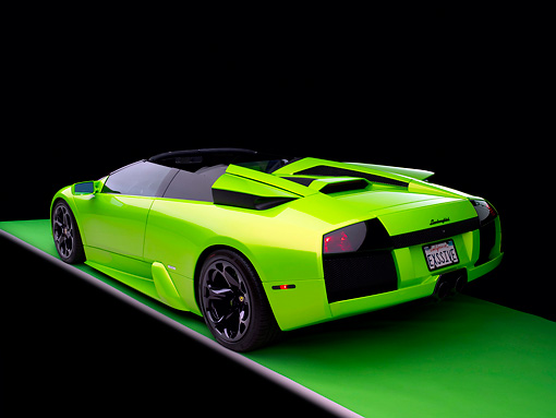 LAM 01 RK0583 01 © Kimball Stock 2006 Lamborghini Murcielago Roadster Lime Green 3/4 Rear View Studio