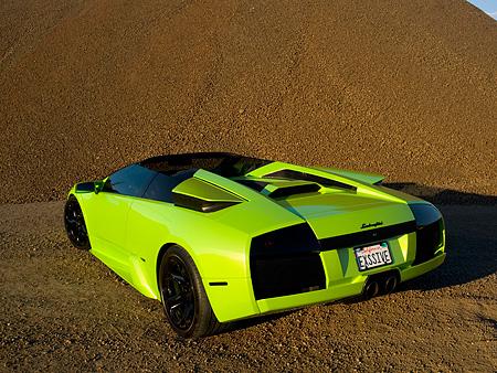 2006 Lamborghini Murcielago Roadster Lime Green 3 4 Rear View On