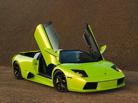 2006 Lamborghini Murcielago Roadster Lime Green 3 4 Front View On