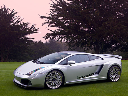 LAM 01 RK0613 01 © Kimball Stock 2006 Lamborghini Gallardo IMSA GTV Silver 3/4 Side View On Grass By Trees