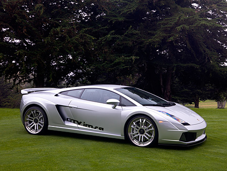 LAM 01 RK0614 01 © Kimball Stock 2006 Lamborghini Gallardo IMSA GTV Silver 3/4 Side View On Grass By Trees