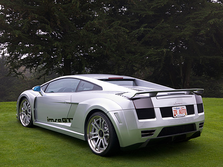 LAM 01 RK0615 01 © Kimball Stock 2006 Lamborghini Gallardo IMSA GTV Silver 3/4 Rear View On Grass By Trees