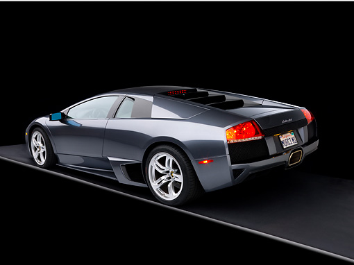 LAM 01 RK0629 02 © Kimball Stock 2007 Lamborghini Murcielago LP640 Gray 3/4 Rear View Gray Floor Studio