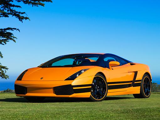 2004 Lamborghini Gallardo Orange With Black Stripes Front 3 4 View